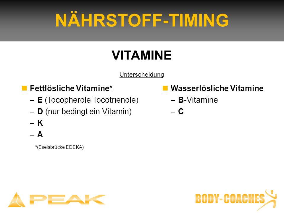 NÄHRSTOFF-TIMING VITAMINE n Fettlösliche Vitamine*