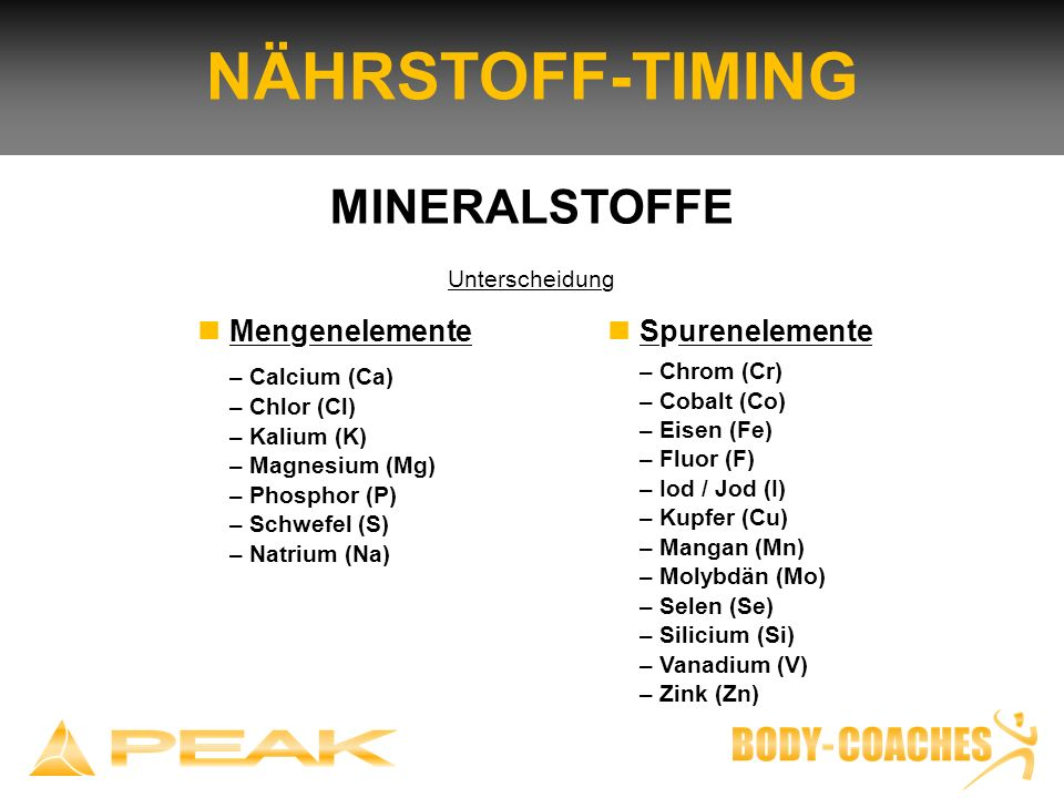 NÄHRSTOFF-TIMING MINERALSTOFFE n Mengenelemente – Calcium (Ca)