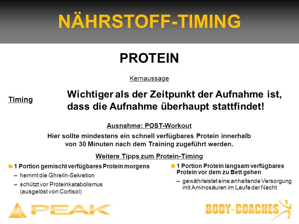 Ausnahme: POST-Workout Weitere Tipps zum Protein-Timing