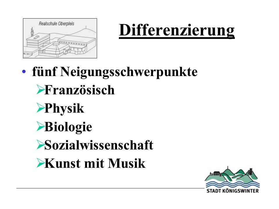 Differenzierung fünf Neigungsschwerpunkte Französisch Physik Biologie