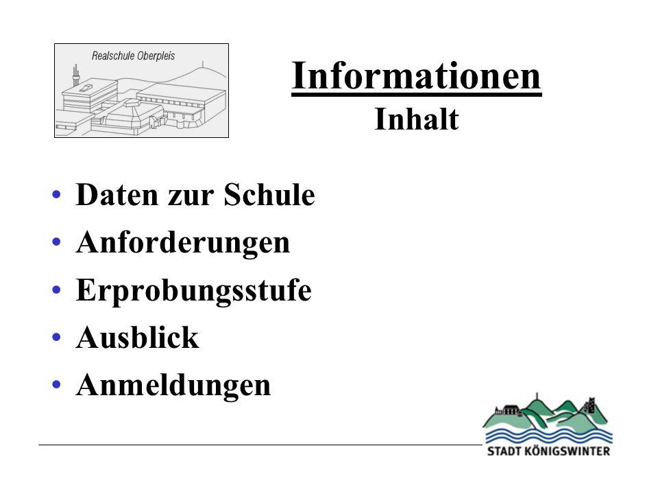 Informationen Inhalt Daten zur Schule Anforderungen Erprobungsstufe