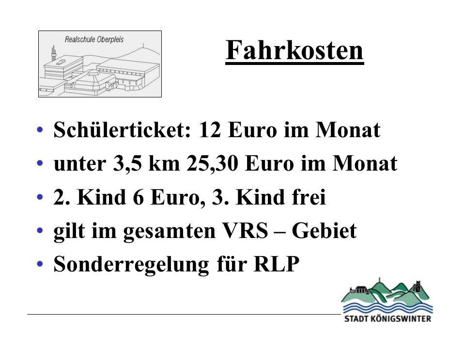 Fahrkosten Schülerticket: 12 Euro im Monat