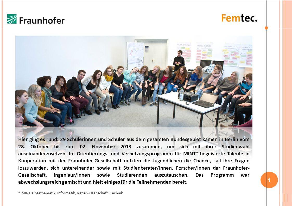 Hier ging es rund: 29 Schülerinnen und Schüler aus dem gesamten Bundesgebiet kamen in Berlin vom 28. Oktober bis zum 02. November 2013 zusammen, um sich mit ihrer Studienwahl auseinanderzusetzen. Im Orientierungs- und Vernetzungsprogramm für MINT*-begeisterte Talente in Kooperation mit der Fraunhofer-Gesellschaft nutzten die Jugendlichen die Chance, all ihre Fragen loszuwerden, sich untereinander sowie mit Studienberater/innen, Forscher/innen der Fraunhofer-Gesellschaft, Ingenieur/innen sowie Studierenden auszutauschen. Das Programm war abwechslungsreich gemischt und hielt einiges für die Teilnehmenden bereit.