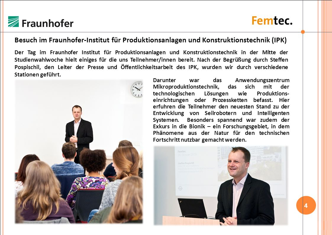 Besuch im Fraunhofer-Institut für Produktionsanlagen und Konstruktionstechnik (IPK)