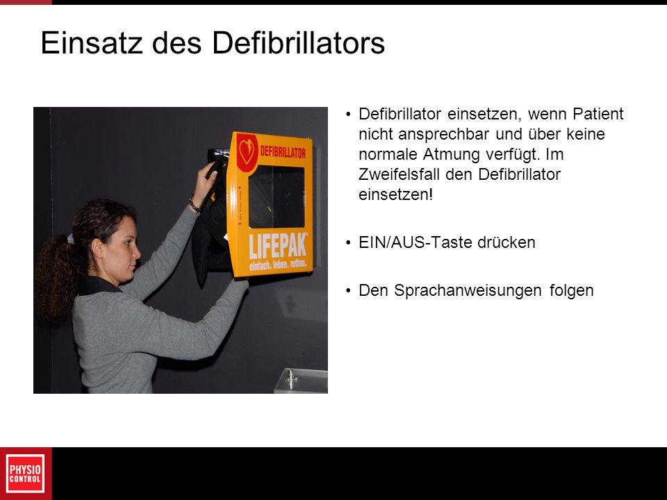 Einsatz des Defibrillators