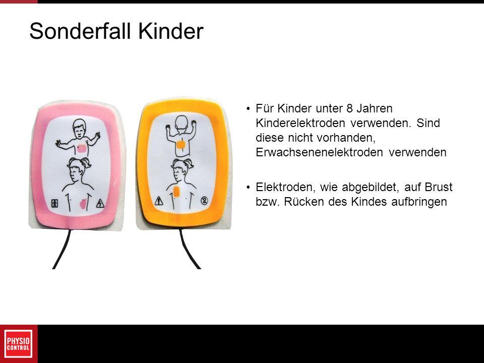 Sonderfall Kinder Für Kinder unter 8 Jahren Kinderelektroden verwenden. Sind diese nicht vorhanden, Erwachsenenelektroden verwenden.