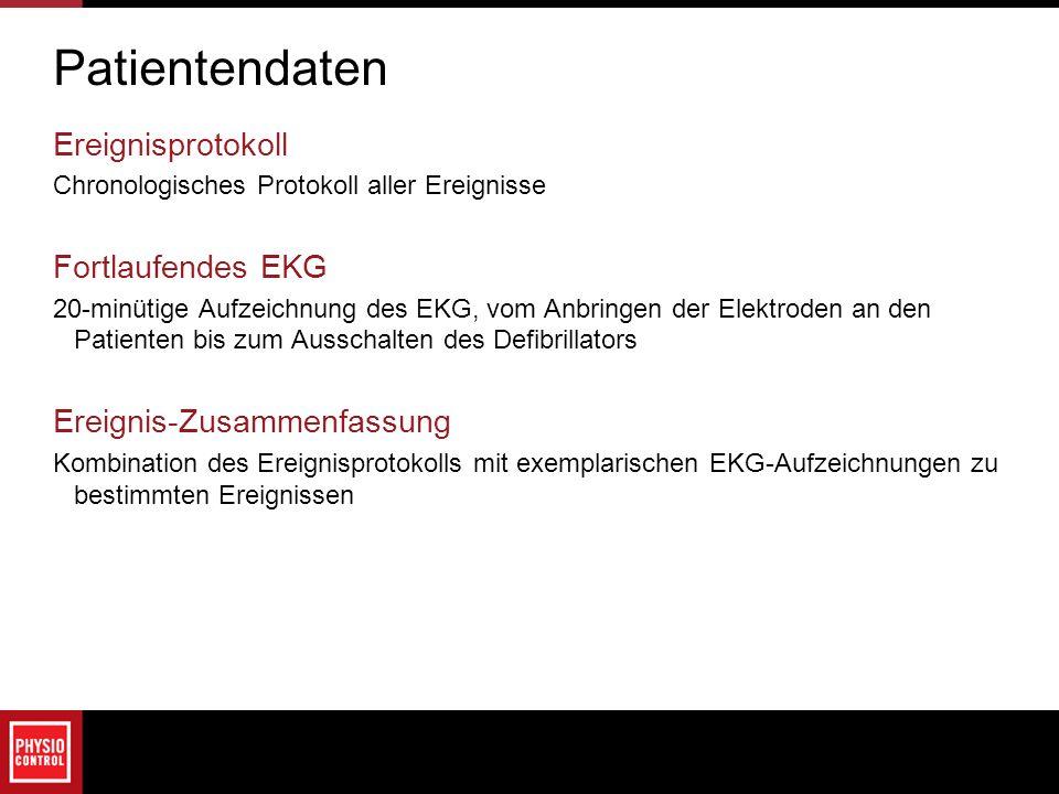 Patientendaten Ereignisprotokoll Fortlaufendes EKG