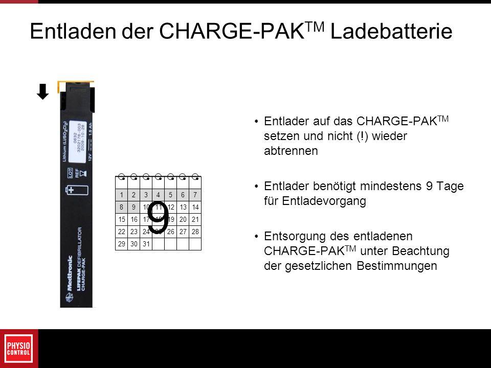 Entladen der CHARGE-PAKTM Ladebatterie