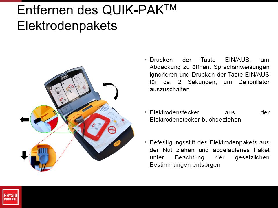 Entfernen des QUIK-PAKTM Elektrodenpakets