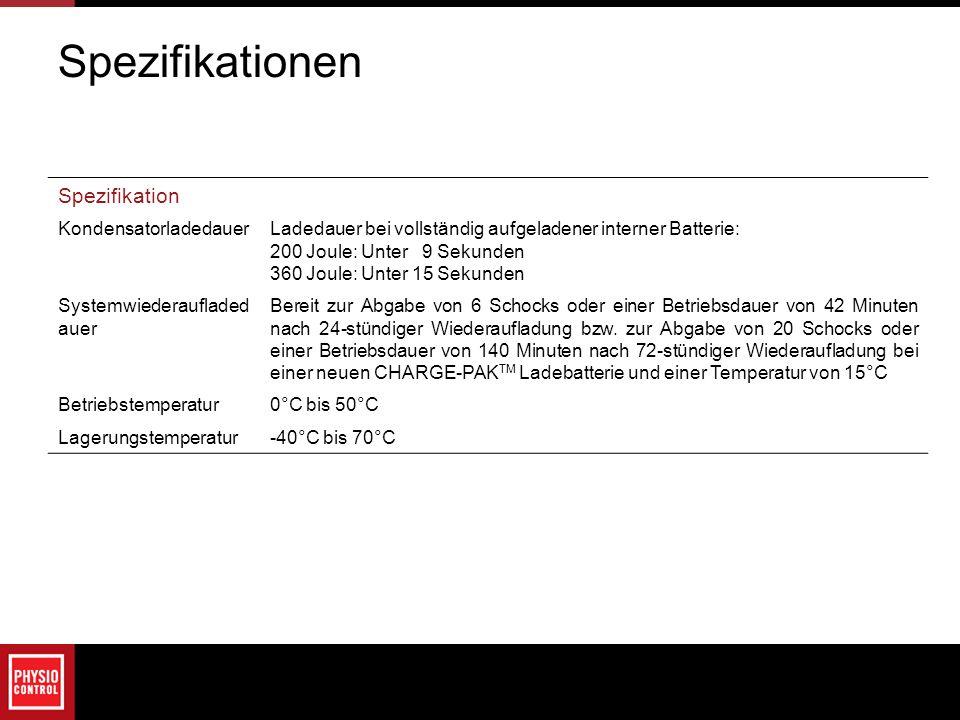 Spezifikationen Spezifikation Kondensatorladedauer