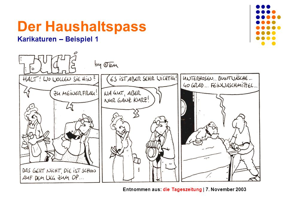 Der Haushaltspass Karikaturen – Beispiel 1