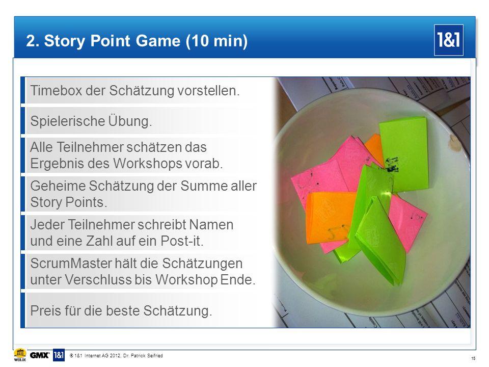 2. Story Point Game (10 min) Timebox der Schätzung vorstellen.