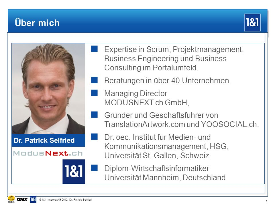 Über mich Dr. Patrick Seifried. Expertise in Scrum, Projektmanagement, Business Engineering und Business Consulting im Portalumfeld.
