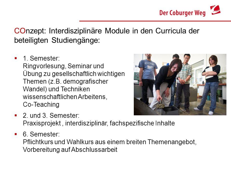 COnzept: Interdisziplinäre Module in den Curricula der beteiligten Studiengänge: