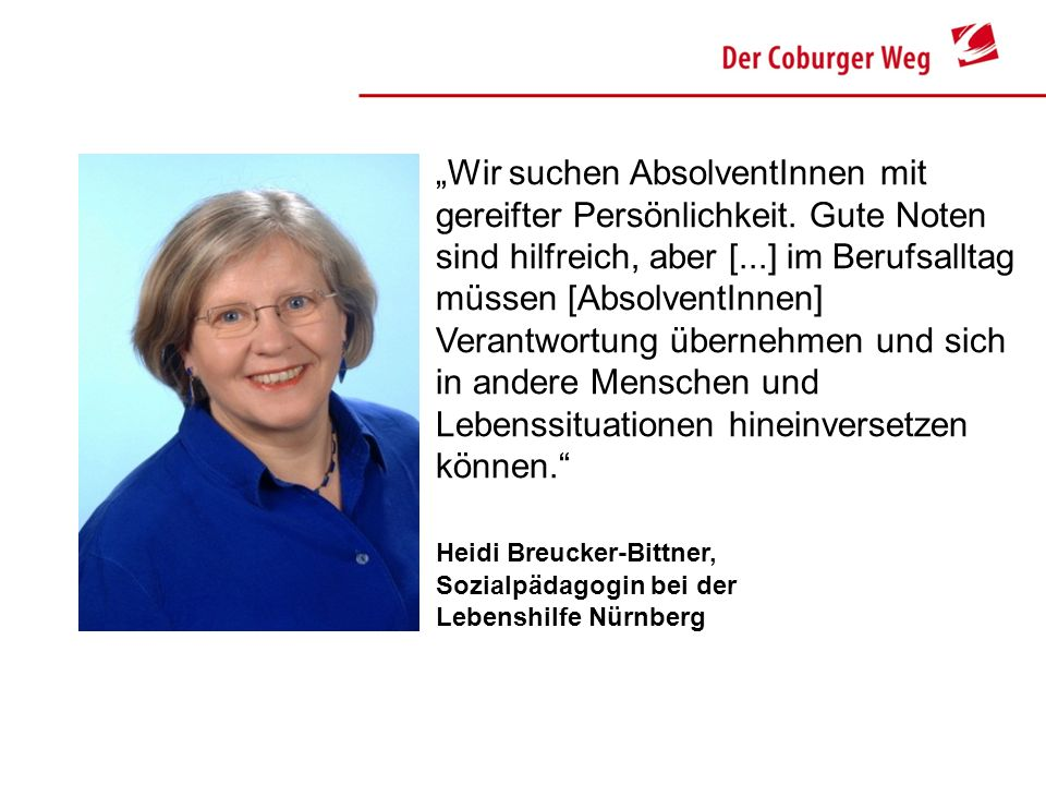 Heidi Breucker-Bittner, Sozialpädagogin bei der Lebenshilfe Nürnberg