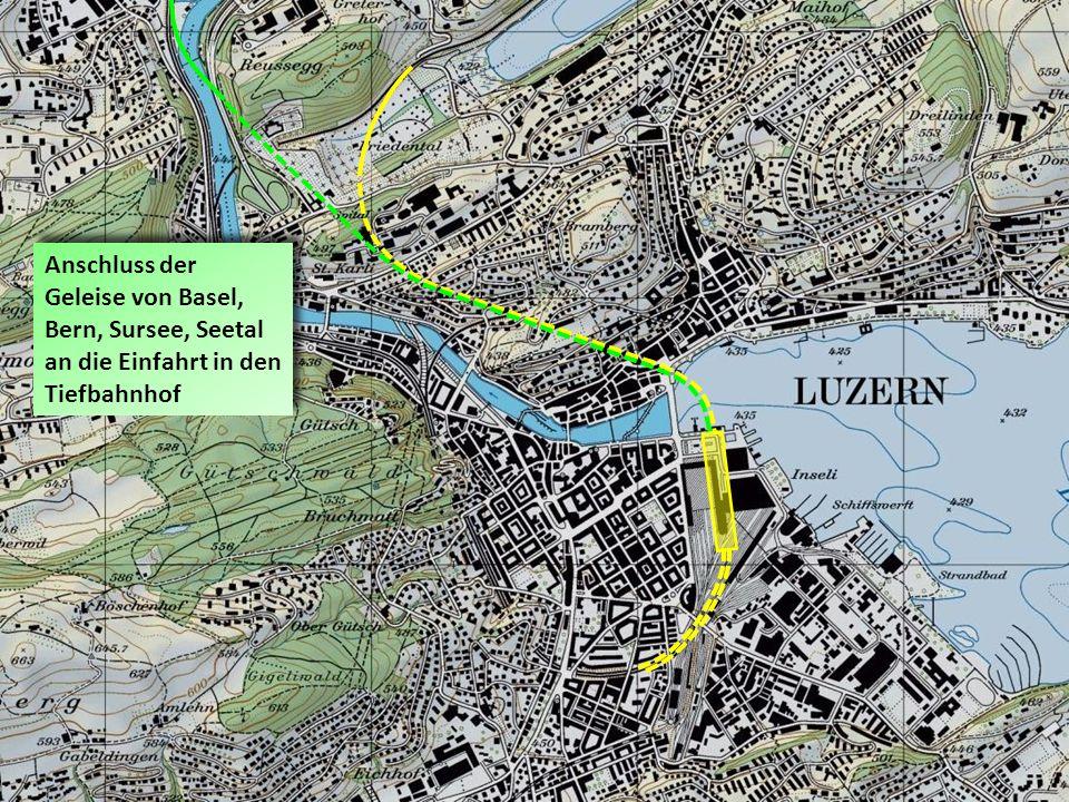 Anschluss der Geleise von Basel, Bern, Sursee, Seetal an die Einfahrt in den Tiefbahnhof