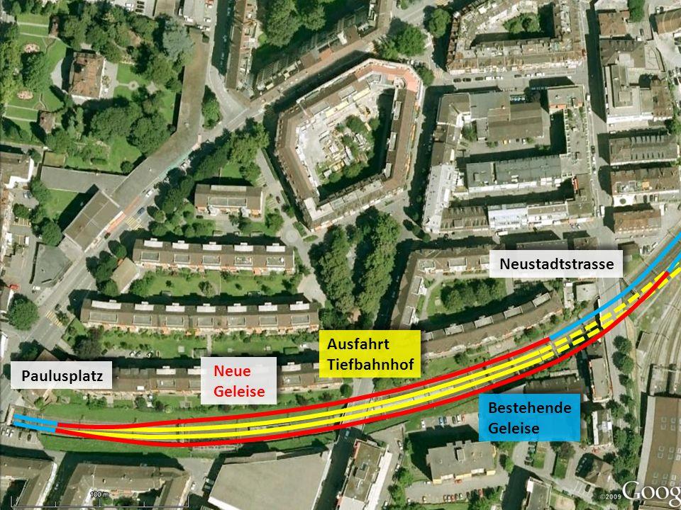 Neustadtstrasse Ausfahrt Tiefbahnhof Neue Geleise Paulusplatz Bestehende Geleise