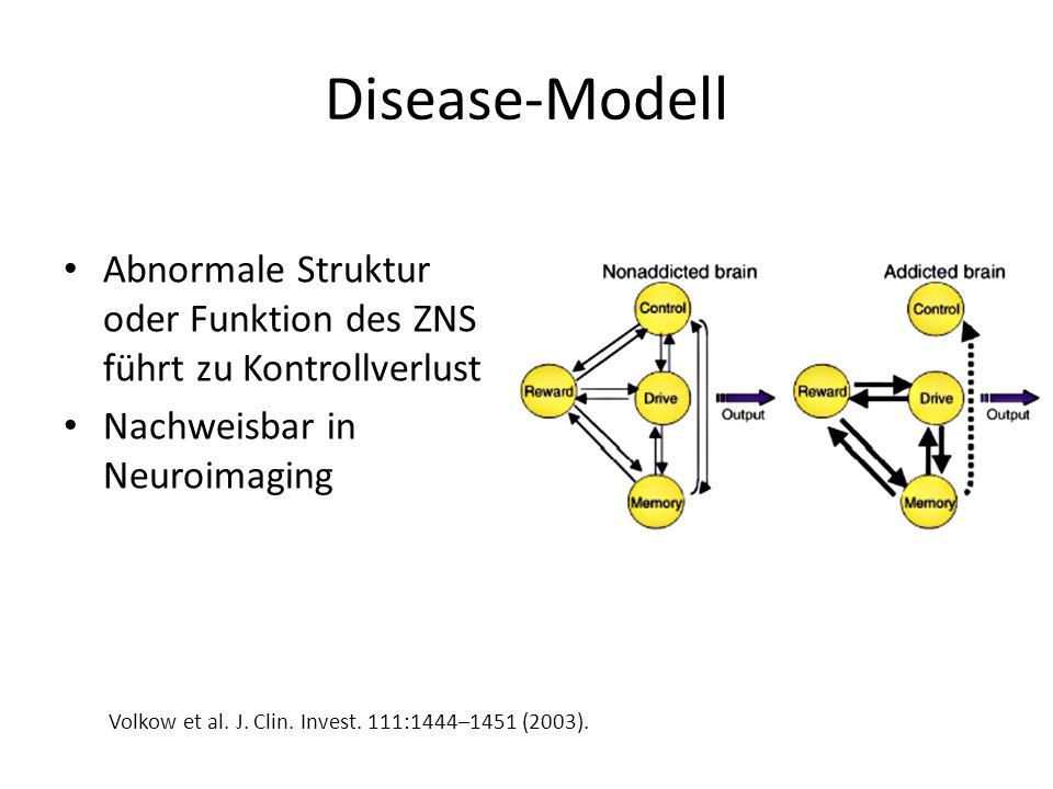 Disease-Modell Abnormale Struktur oder Funktion des ZNS führt zu Kontrollverlust. Nachweisbar in Neuroimaging.