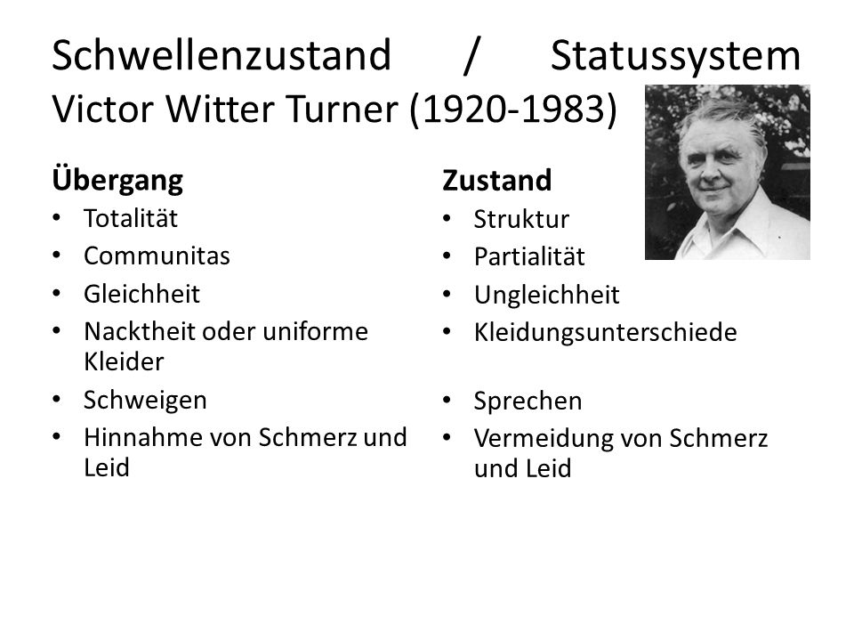 Schwellenzustand / Statussystem Victor Witter Turner (1920-1983)