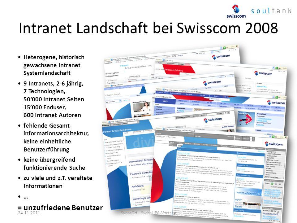 Intranet Landschaft bei Swisscom 2008