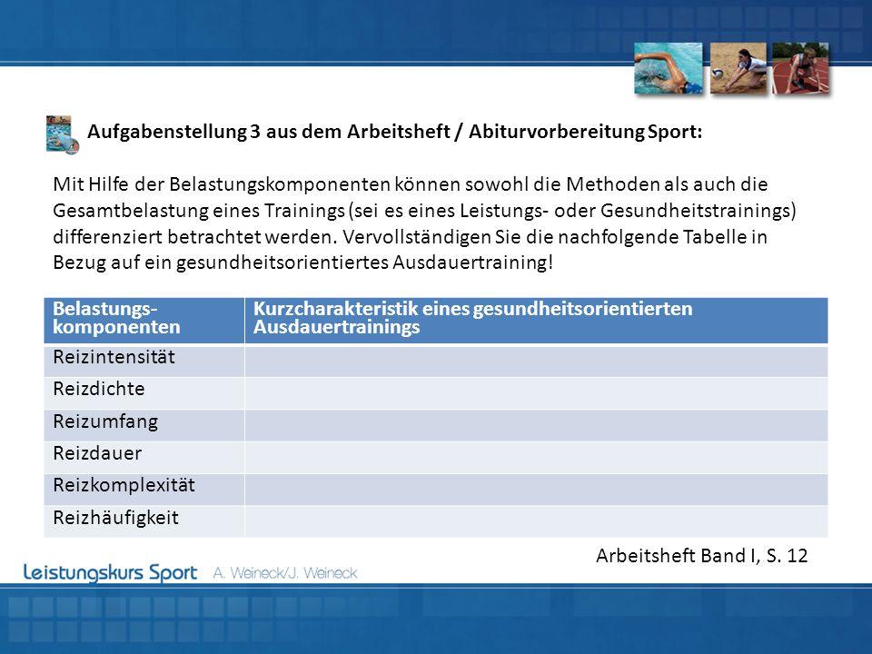 Aufgabenstellung 3 aus dem Arbeitsheft / Abiturvorbereitung Sport:
