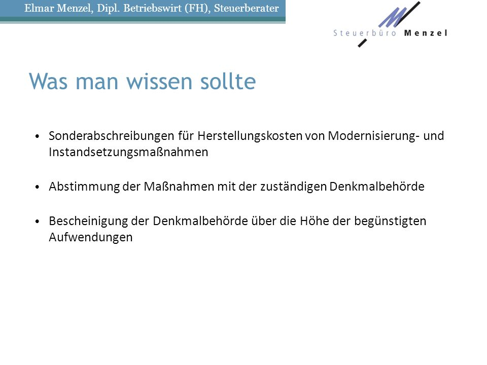 Elmar Menzel, Dipl. Betriebswirt (FH), Steuerberater