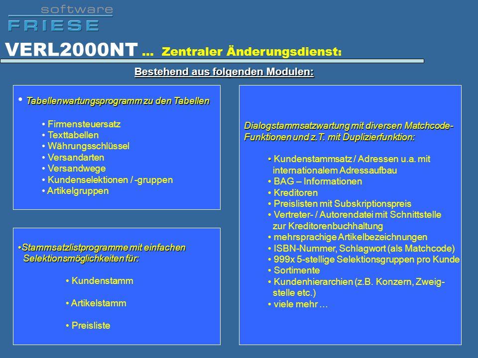 VERL2000NT … Zentraler Änderungsdienst: