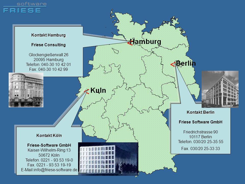 Kontakt Hamburg Friese Consulting. Glockengießerwall 26 20095 Hamburg Telefon: 040-30 10 42 01 Fax: 040-30 10 42 99.