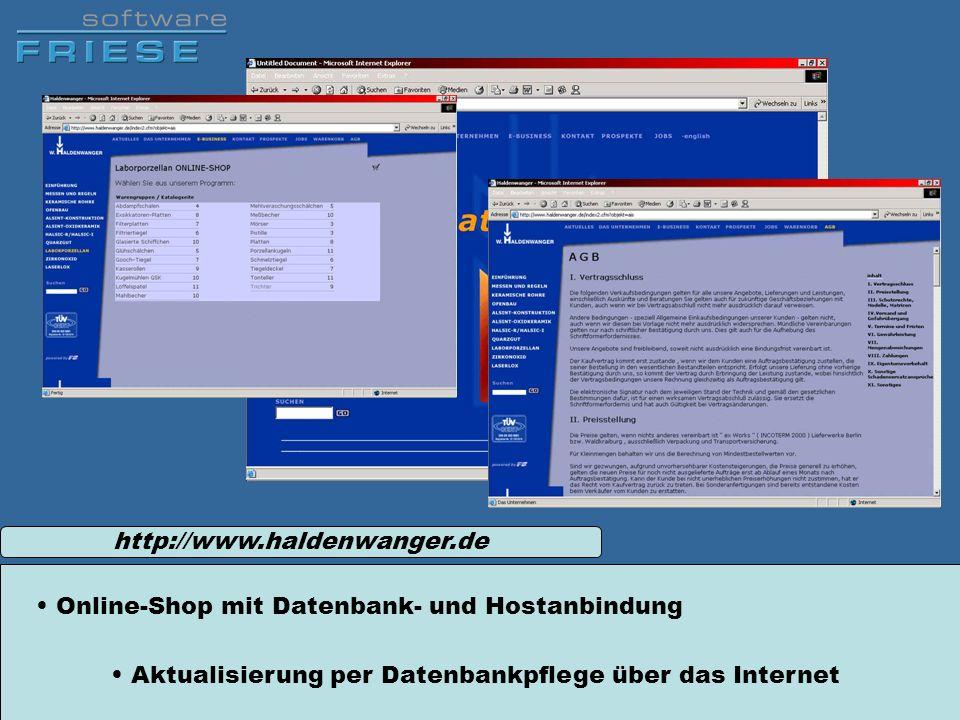 Aktualisierung per Datenbankpflege über das Internet