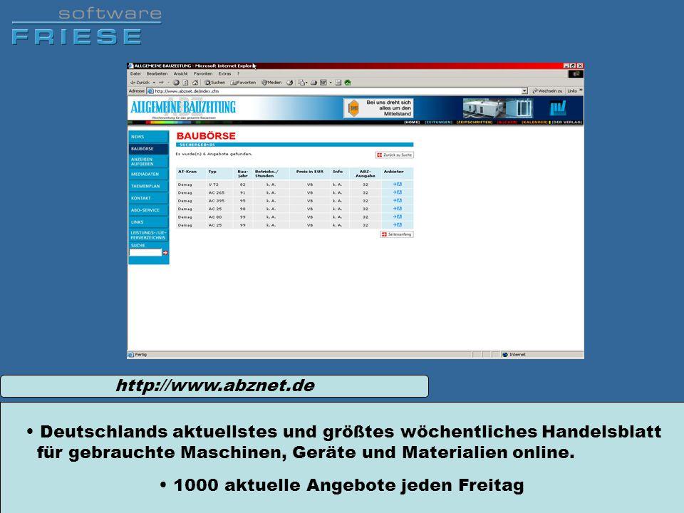 http://www.abznet.deDeutschlands aktuellstes und größtes wöchentliches Handelsblatt für gebrauchte Maschinen, Geräte und Materialien online.