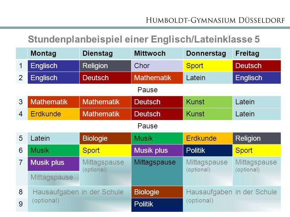 Stundenplanbeispiel einer Englisch/Lateinklasse 5