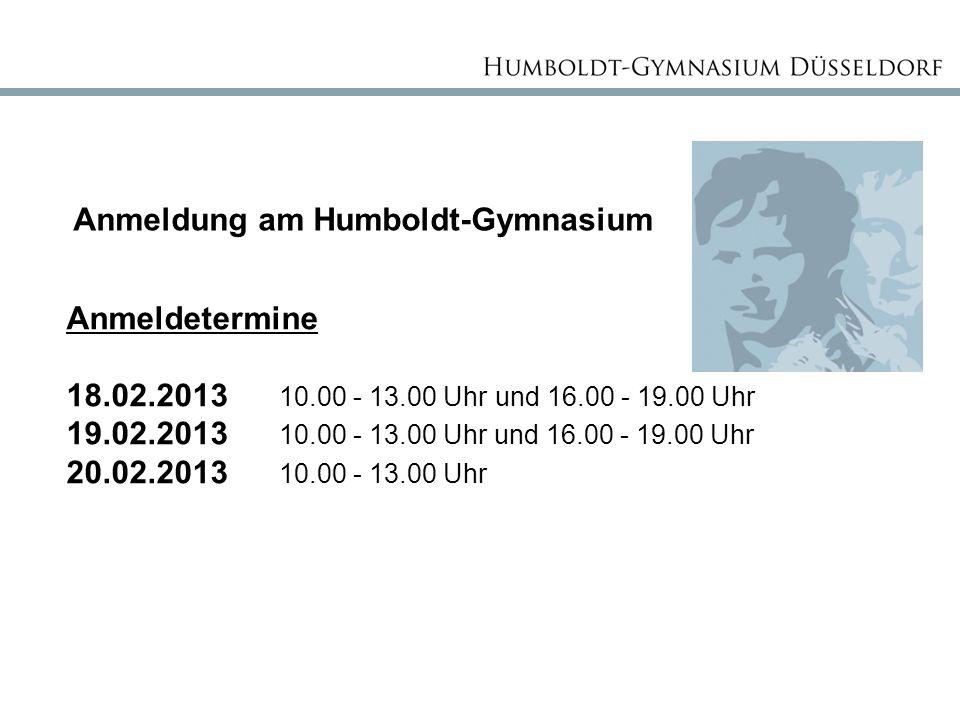 Anmeldung am Humboldt-Gymnasium