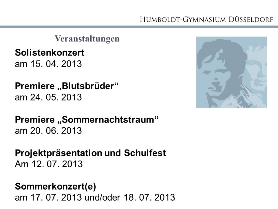 """Veranstaltungen Solistenkonzert am 15. 04. 2013 Premiere """"Blutsbrüder"""