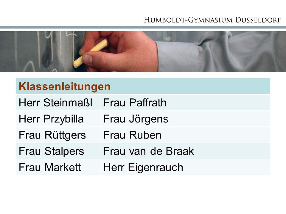 Klassenleitungen Herr Steinmaßl Frau Paffrath Herr Przybilla