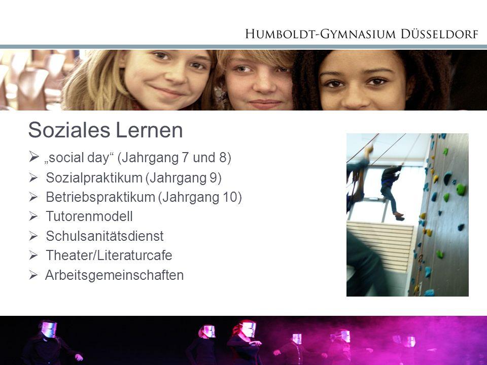 """Soziales Lernen """"social day (Jahrgang 7 und 8)"""