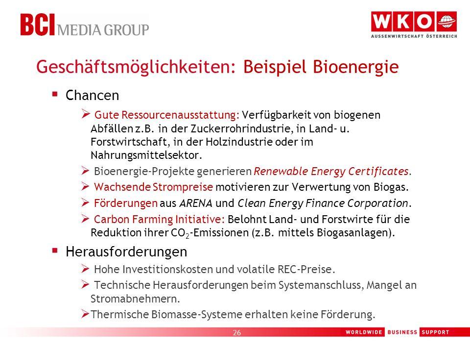 Geschäftsmöglichkeiten: Beispiel Bioenergie