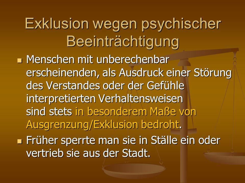 Exklusion wegen psychischer Beeinträchtigung