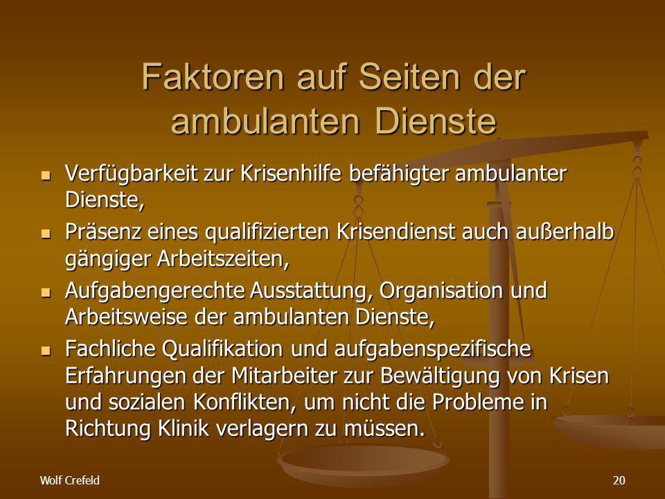 Faktoren auf Seiten der ambulanten Dienste