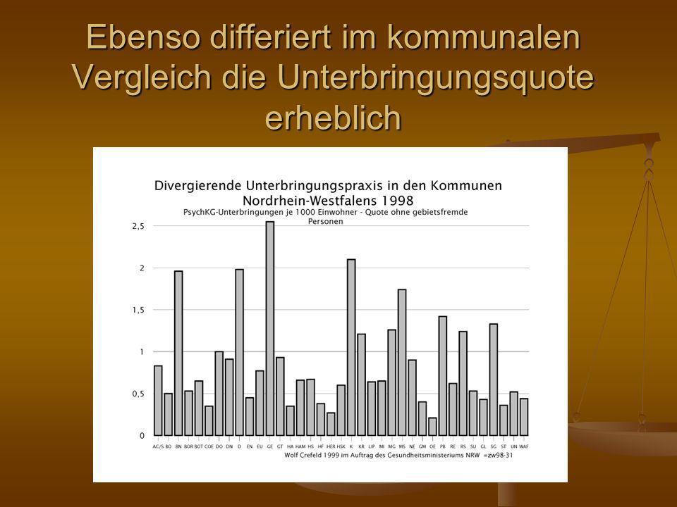 Ebenso differiert im kommunalen Vergleich die Unterbringungsquote erheblich