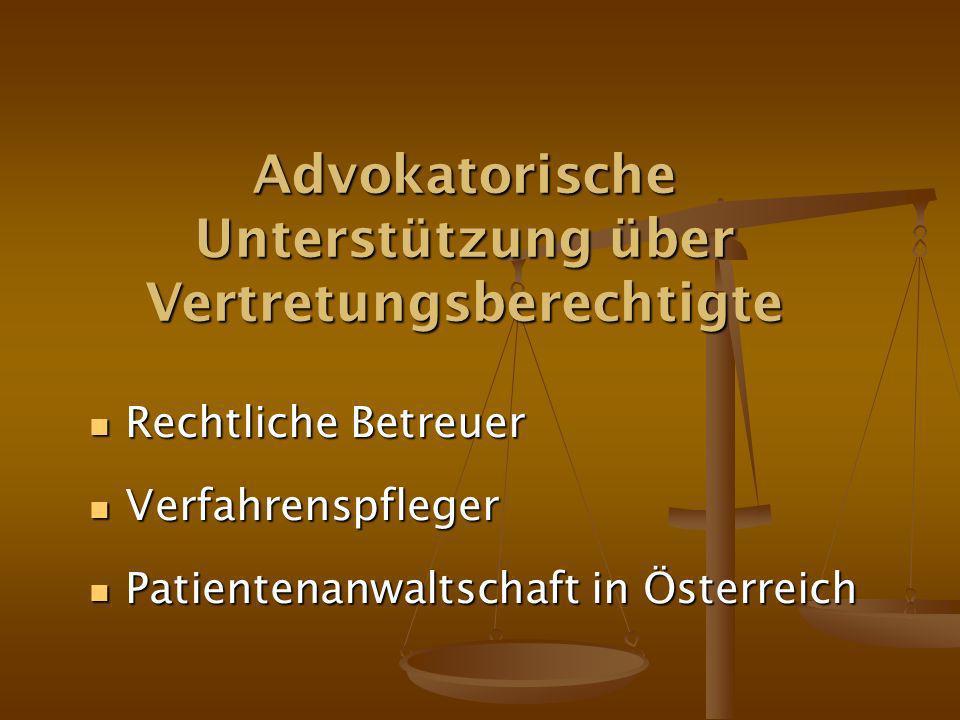 Advokatorische Unterstützung über Vertretungsberechtigte