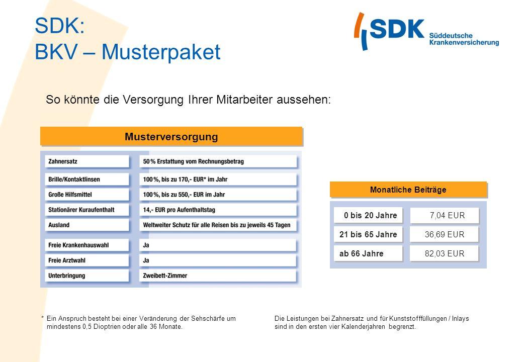 SDK: BKV – Musterpaket So könnte die Versorgung Ihrer Mitarbeiter aussehen: Musterversorgung. Monatliche Beiträge.
