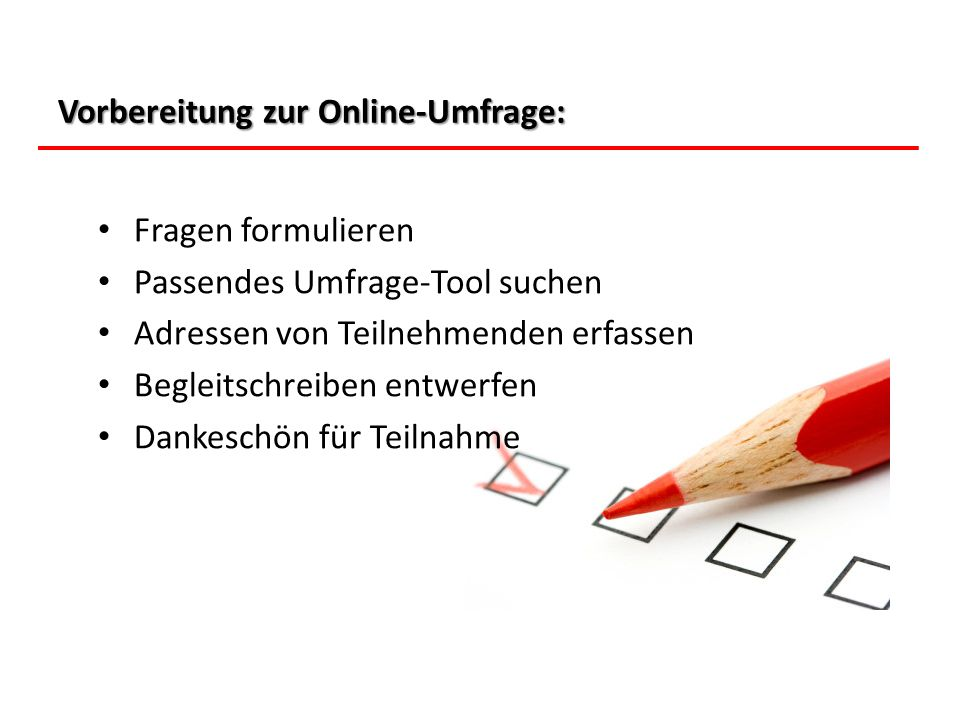 Vorbereitung zur Online-Umfrage: