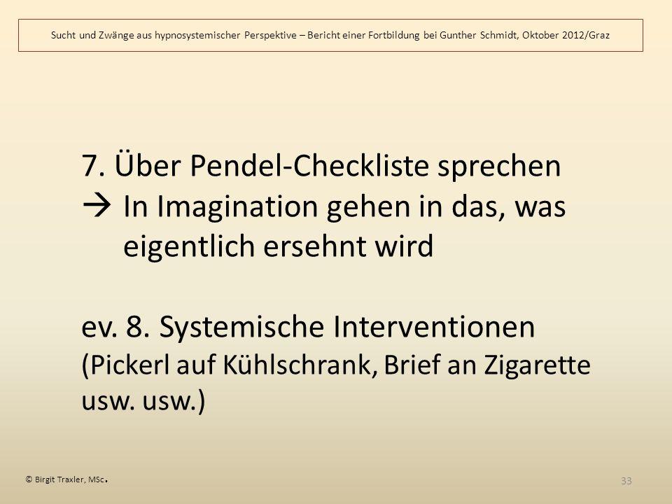 7. Über Pendel-Checkliste sprechen