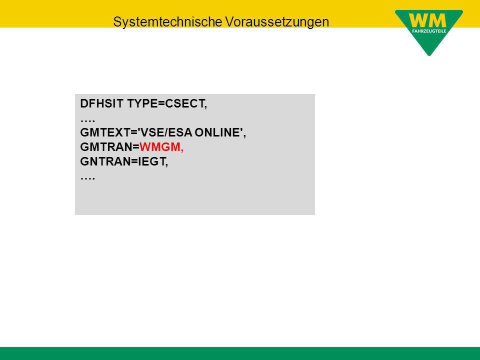 Systemtechnische Voraussetzungen