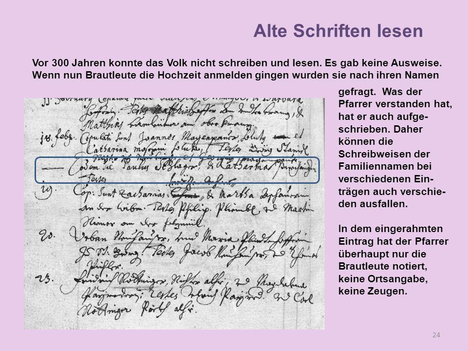 Alte Schriften lesen Vor 300 Jahren konnte das Volk nicht schreiben und lesen. Es gab keine Ausweise.