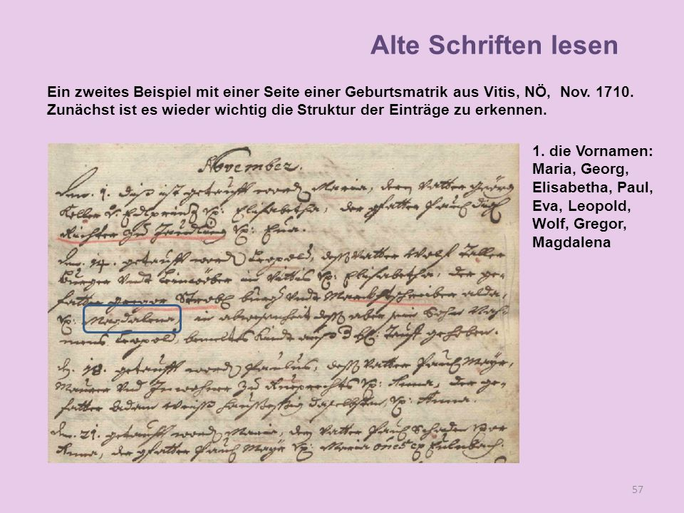 Alte Schriften lesen Ein zweites Beispiel mit einer Seite einer Geburtsmatrik aus Vitis, NÖ, Nov. 1710.