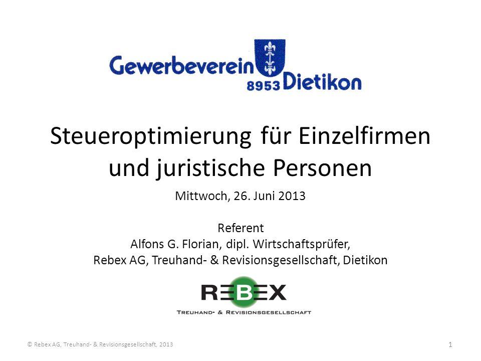 Steueroptimierung für Einzelfirmen und juristische Personen
