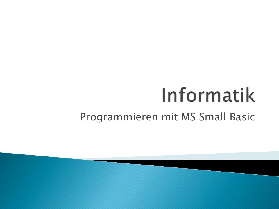Programmieren mit MS Small Basic