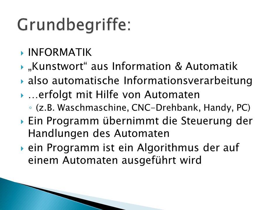 "Grundbegriffe: INFORMATIK ""Kunstwort aus Information & Automatik"
