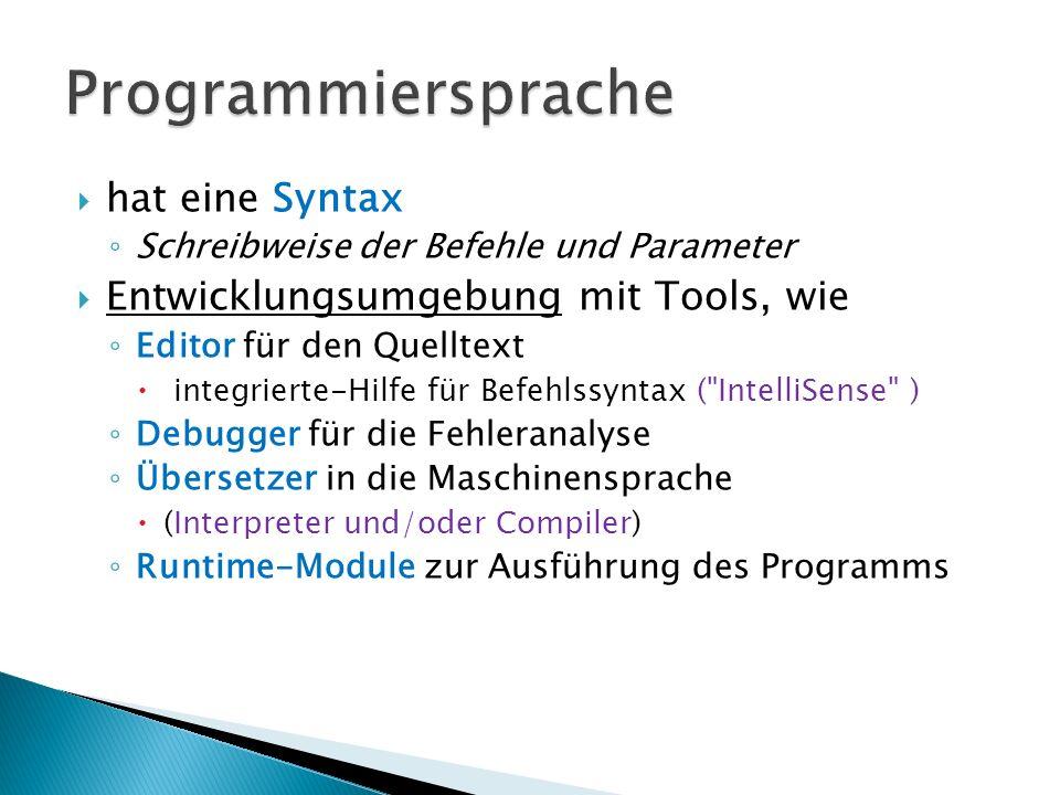Programmiersprache hat eine Syntax Entwicklungsumgebung mit Tools, wie